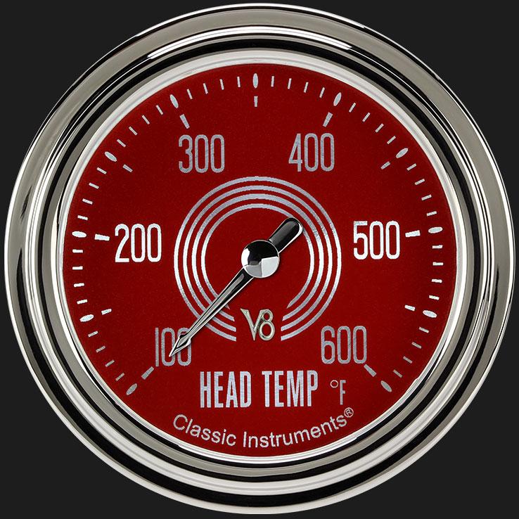 """Picture of V8 Red Steelie 2 5/8"""" Cylinder Head Temp. Gauge"""