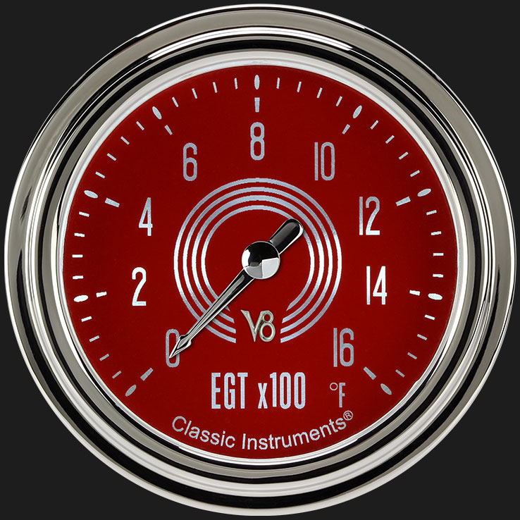 """Picture of V8 Red Steelie 2 5/8"""" Exhaust Gas Temp. Gauge"""