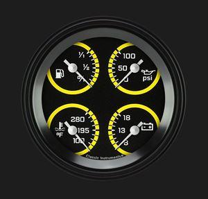 "Picture of AutoCross Yellow 3 3/8"" Quad"