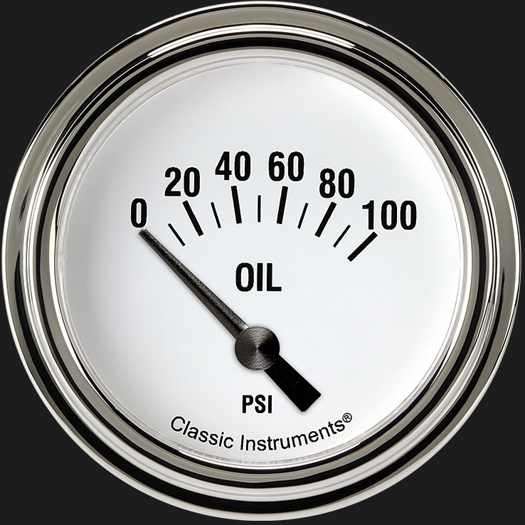 "Picture of White Hot 2 5/8"" Oil Pressure Gauge"