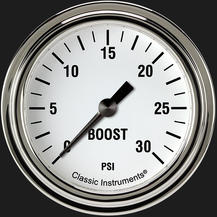 "Picture of White Hot 2 5/8"" Boost Gauge, 30 psi"