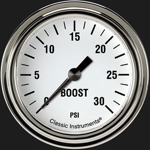 """Picture of White Hot 2 5/8"""" Boost Gauge, 30 psi"""