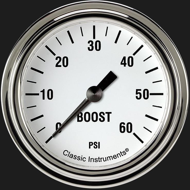"Picture of White Hot 2 5/8"" Boost Gauge, 60 psi"