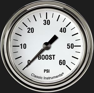 """Picture of White Hot 2 5/8"""" Boost Gauge, 60 psi"""