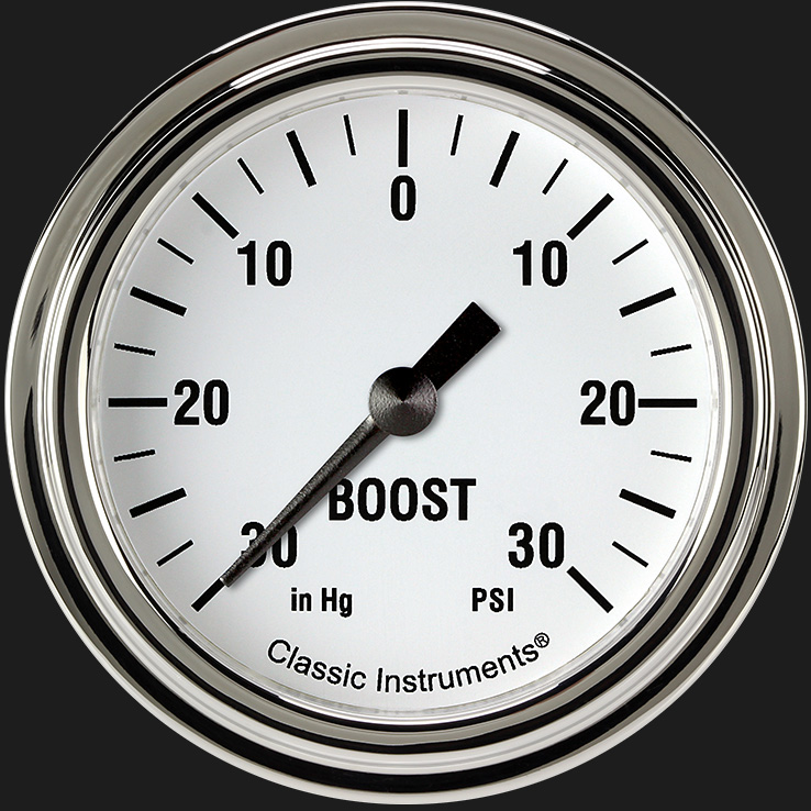 """Picture of White Hot 2 5/8"""" Boost/Vac Gauge"""