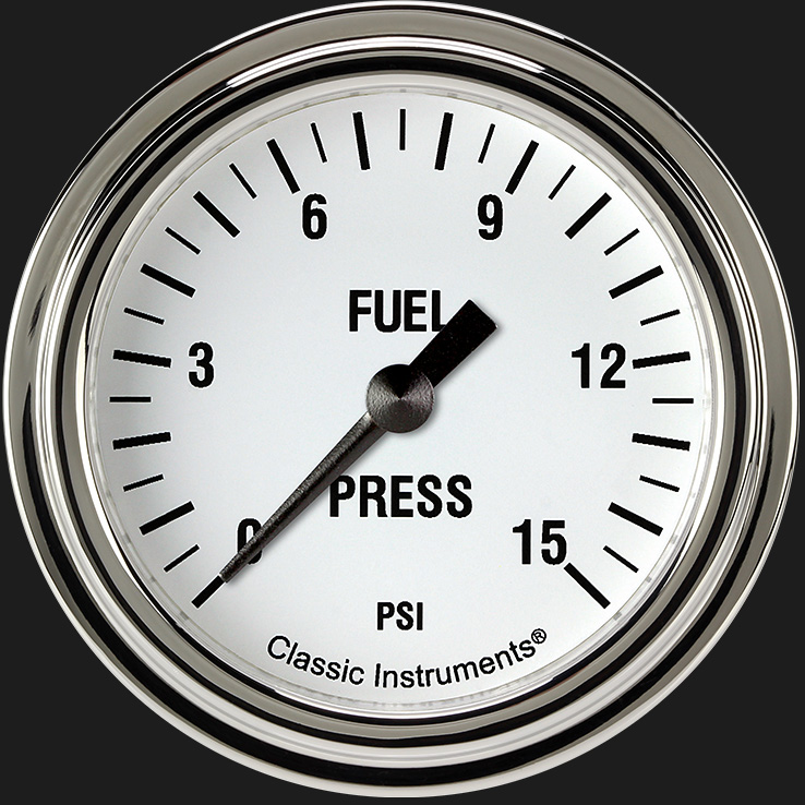 """Picture of White Hot 2 5/8"""" Fuel Pressure Gauge, 15 psi"""