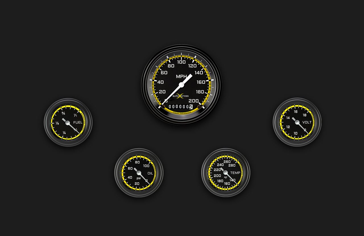 Picture of AutoCross Yellow Five Gauge Set 100