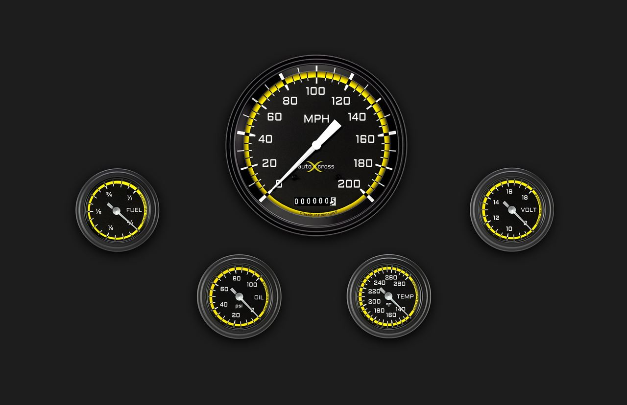 Picture of AutoCross Yellow Five Gauge Set 154
