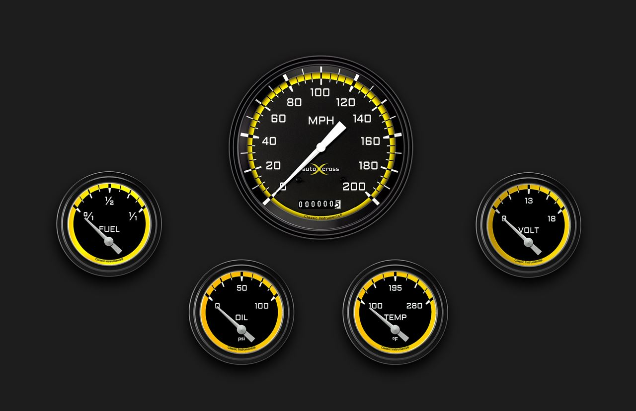 Picture of AutoCross Yellow Five Gauge Set 254