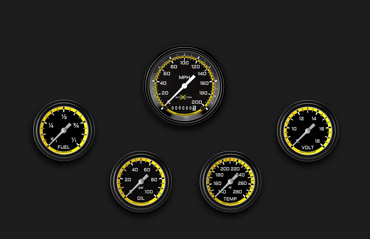 Picture of AutoCross Yellow Five Gauge Set 300