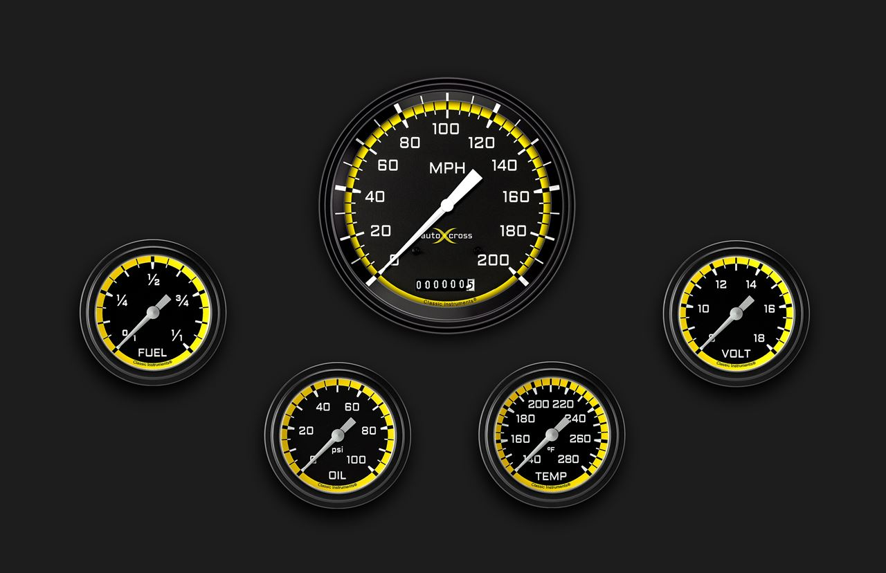 Picture of AutoCross Yellow Five Gauge Set 354