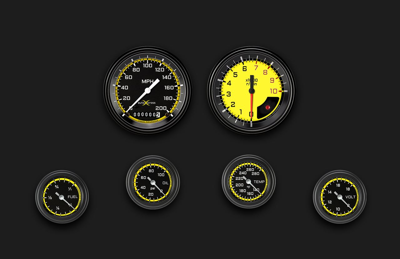 Picture of AutoCross Yellow Six Gauge Set 101