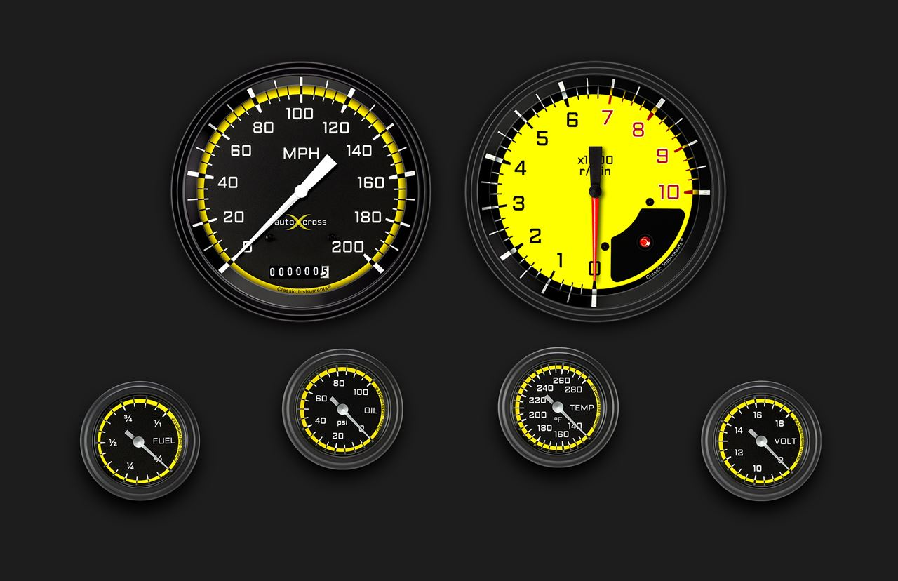Picture of AutoCross Yellow Six Gauge Set 151