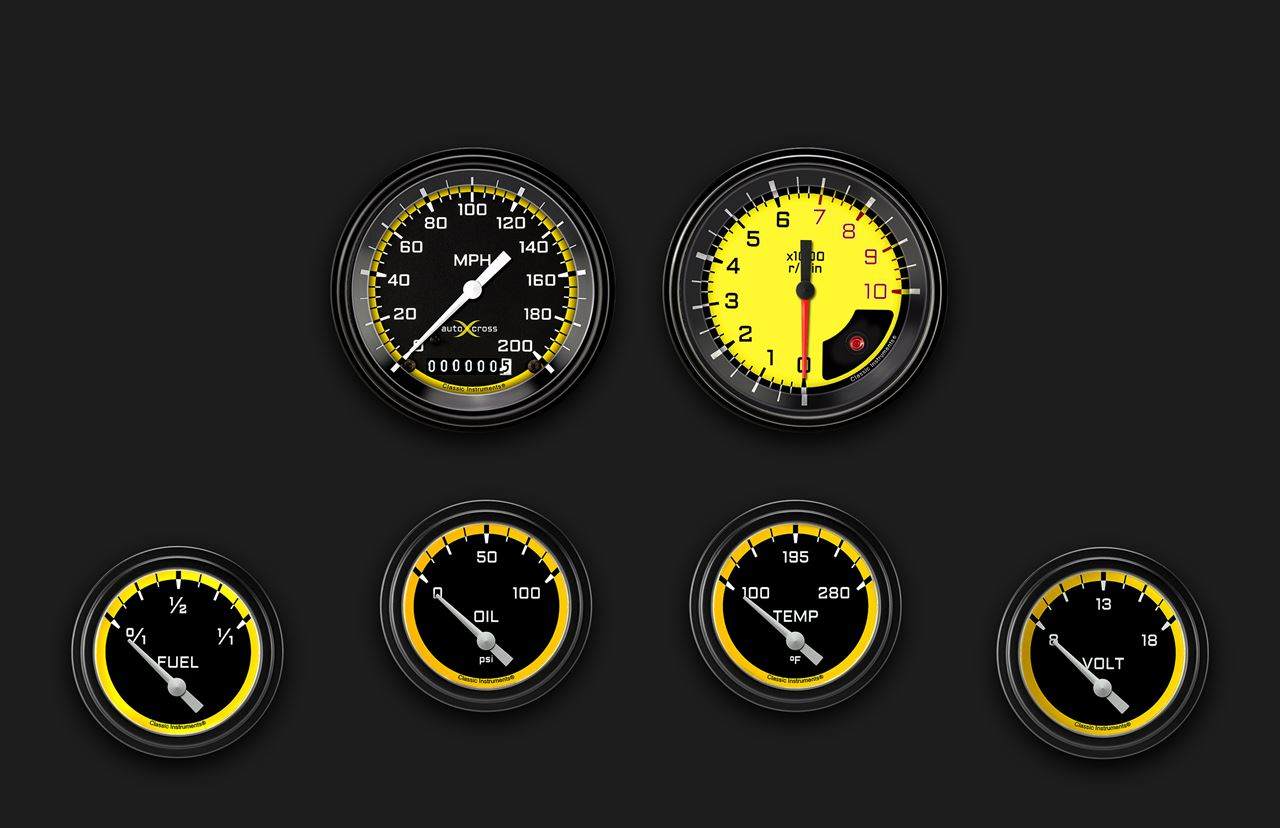 Picture of AutoCross Yellow Six Gauge Set 201