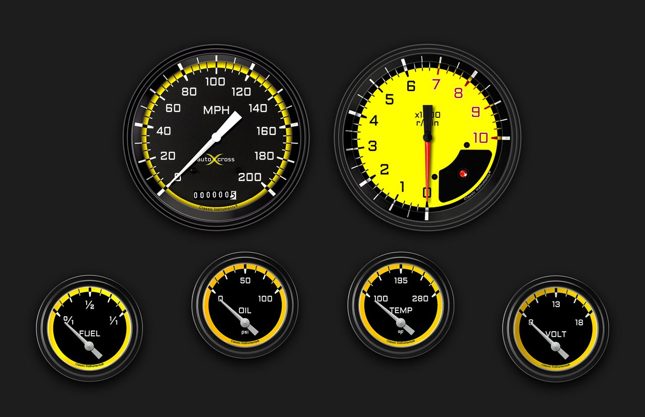 Picture of AutoCross Yellow Six Gauge Set 251