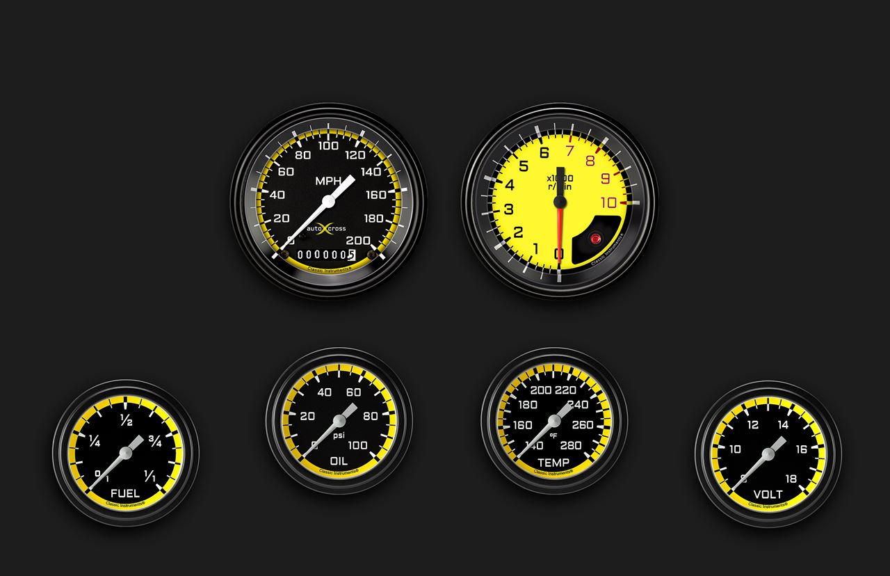 Picture of AutoCross Yellow Six Gauge Set 301