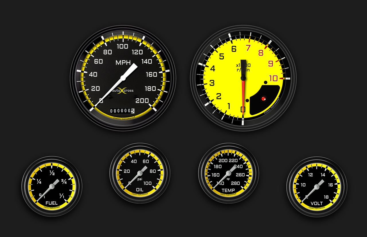 Picture of AutoCross Yellow Six Gauge Set 351