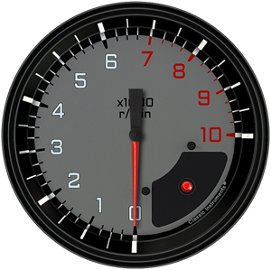 """Picture of AutoCross Gray 4 5/8"""" Tachometer"""