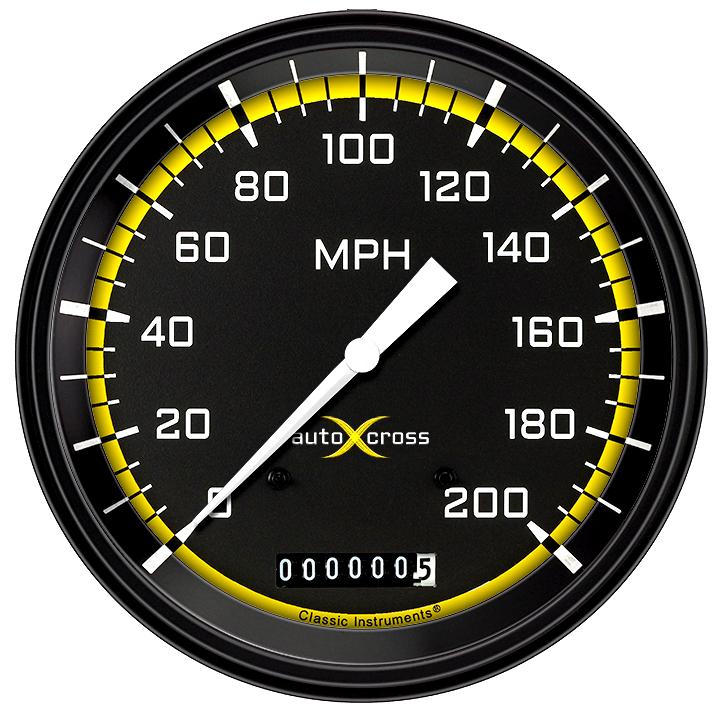 "Picture of AutoCross Yellow 4 5/8"" Speedometer"