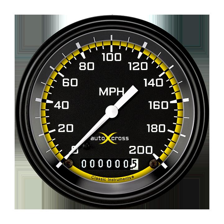 "Picture of AutoCross Yellow 3 3/8"" Speedometer"