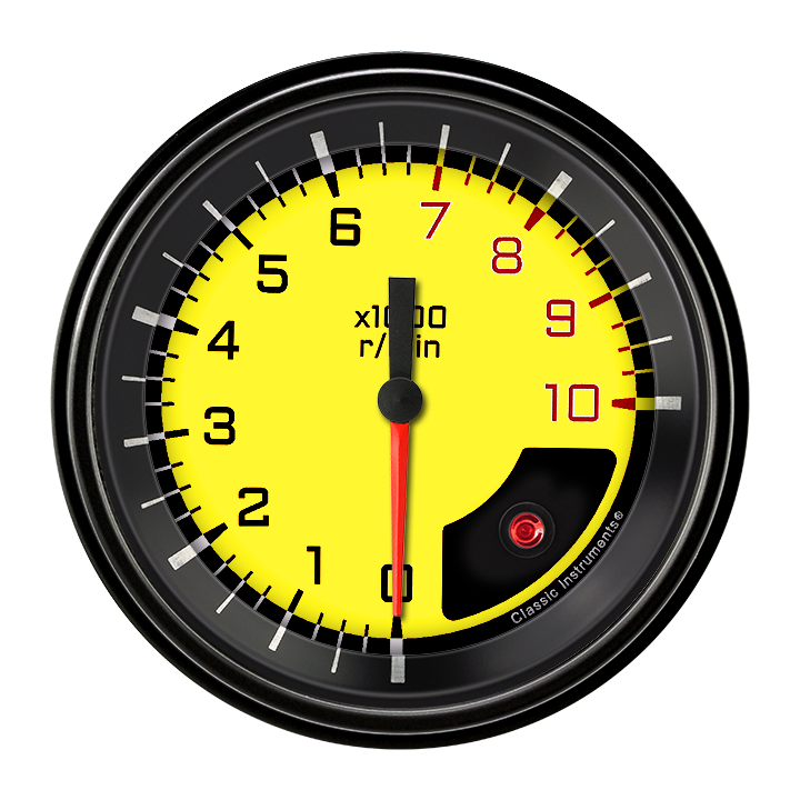 """Picture of AutoCross Yellow 3 3/8"""" Tachometer"""