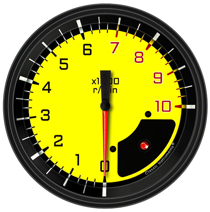 """Picture of AutoCross Yellow 4 5/8"""" Tachometer"""