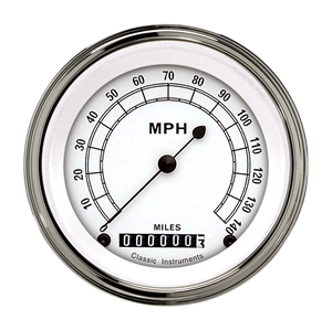 "Picture of Classic White 3 3/8"" Speedometer"