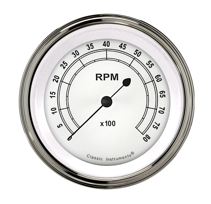 "Picture of Classic White 3 3/8"" Tachometer"