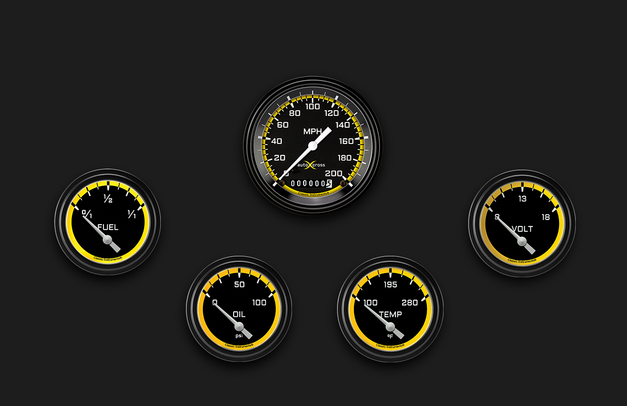 Picture of AutoCross Yellow Five Gauge Set 200