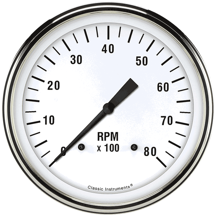 "Picture of White Hot 4 5/8"" Tachometer"