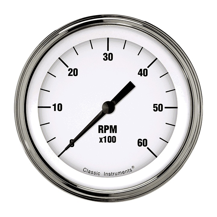 "Picture of White Hot 3 3/8"" Tachometer"