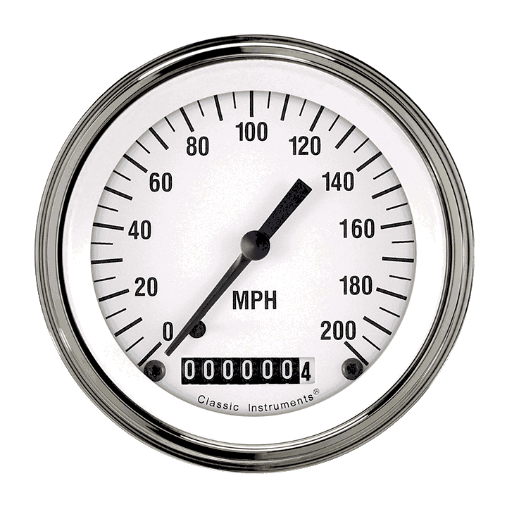 """Picture of White Hot 3 3/8"""" Speedometer"""