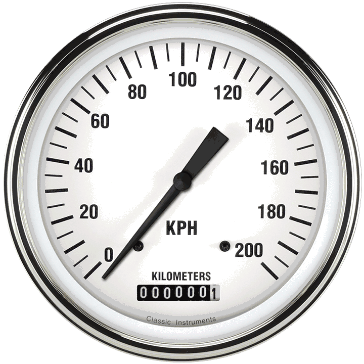 """Picture of White Hot 4 5/8"""" Speedometer"""
