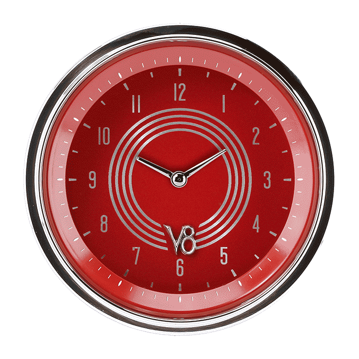 "Picture of V8 Red Steelie 3 3/8"" Clock"
