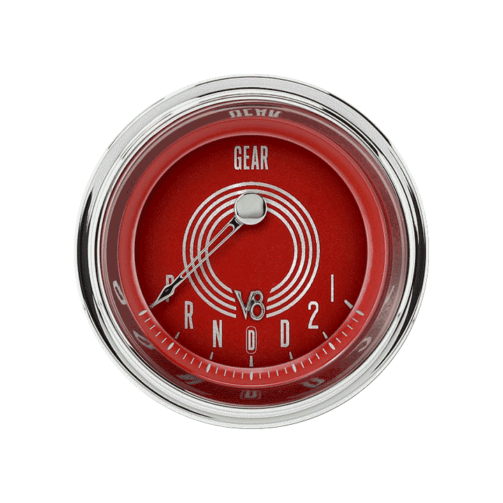 "Picture of V8 Red Steelie 2 1/8"" Gear Indicator, Overdrive"