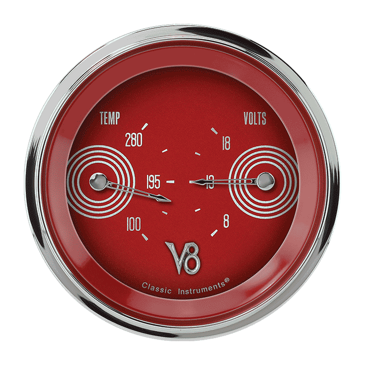 """Picture of V8 Red Steelie 3 3/8"""" Dual"""