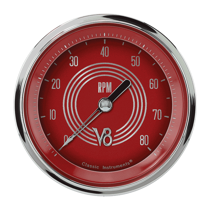 """Picture of V8 Red Steelie 3 3/8"""" Tachometer"""