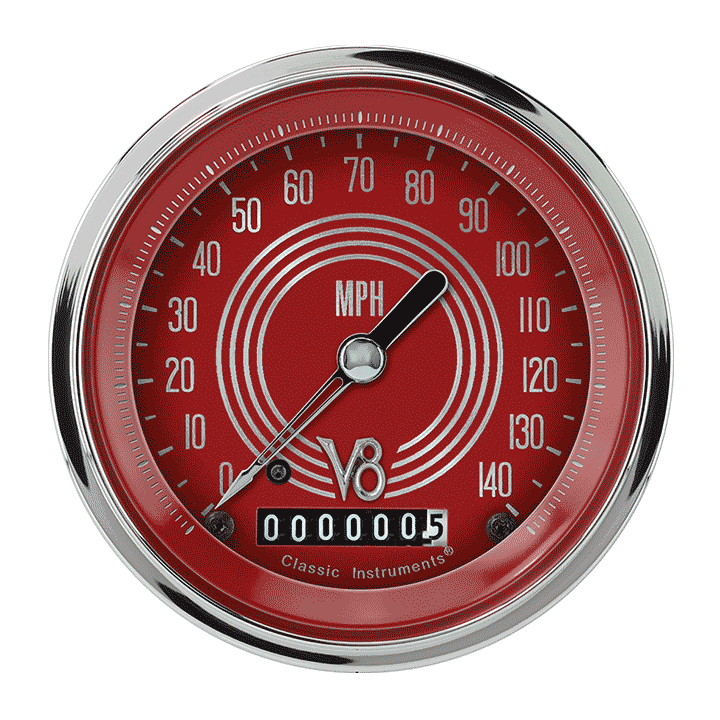 "Picture of V8 Red Steelie 3 3/8"" Speedometer"