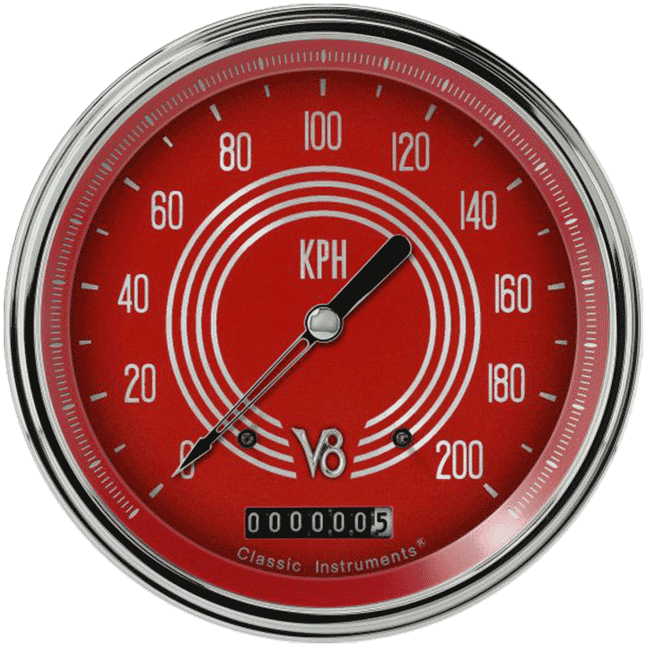 "Picture of V8 Red Steelie 4 5/8"" Speedometer"