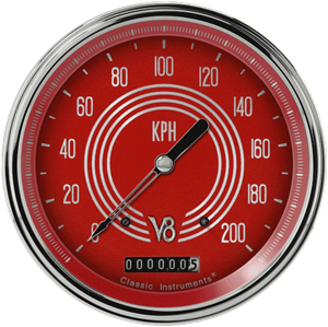 "Picture of V8 Red Steelie 4 5/8"" Speedometer"