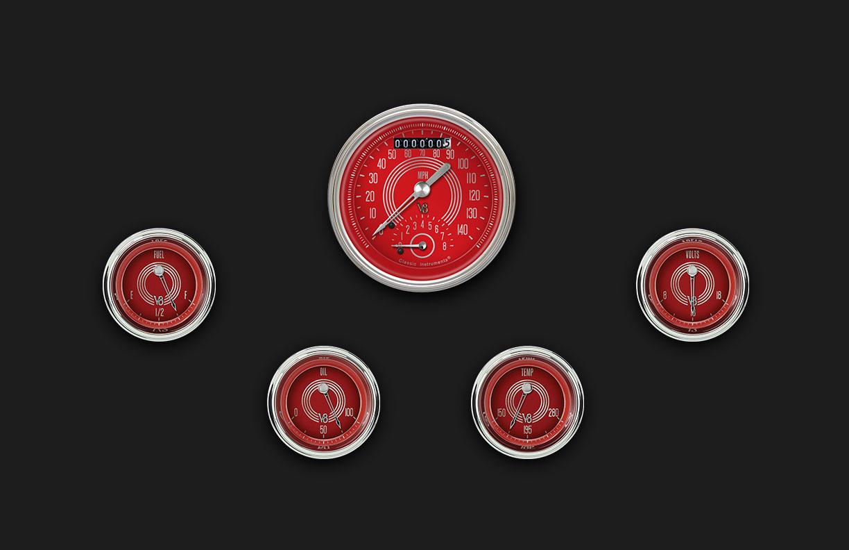 Picture of V8 Red Steelie Six Gauge Set 35