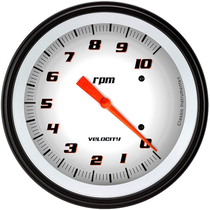 "Picture of Velocity White 4 5/8"" Tachometer"