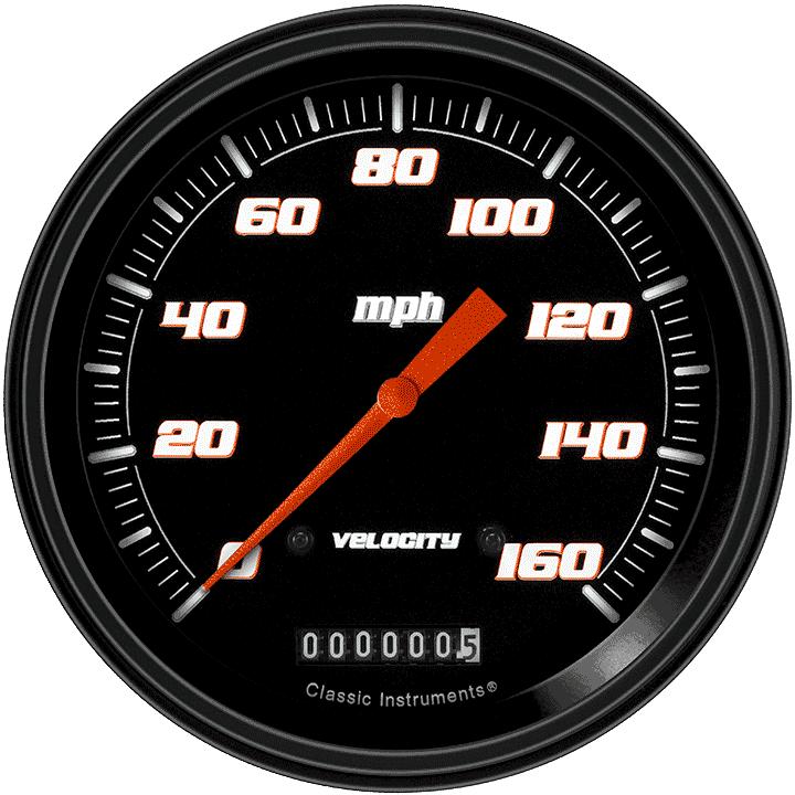 """Picture of Velocity Black 4 5/8"""" Speedometer"""