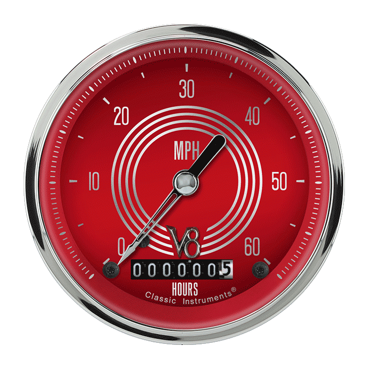 "Picture of V8 Red Steelie 3 3/8"" Low Speed Speedometer"