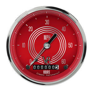 "Picture of V8 Red Steelie 3 3/8"" Low Speed Speedometer"