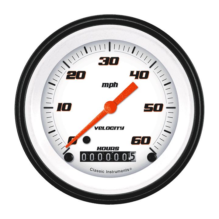 "Picture of Velocity White 3 3/8"" Low Speed Speedometer"