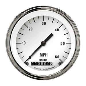 "Picture of White Hot 3 3/8"" Low Speed Speedometer"