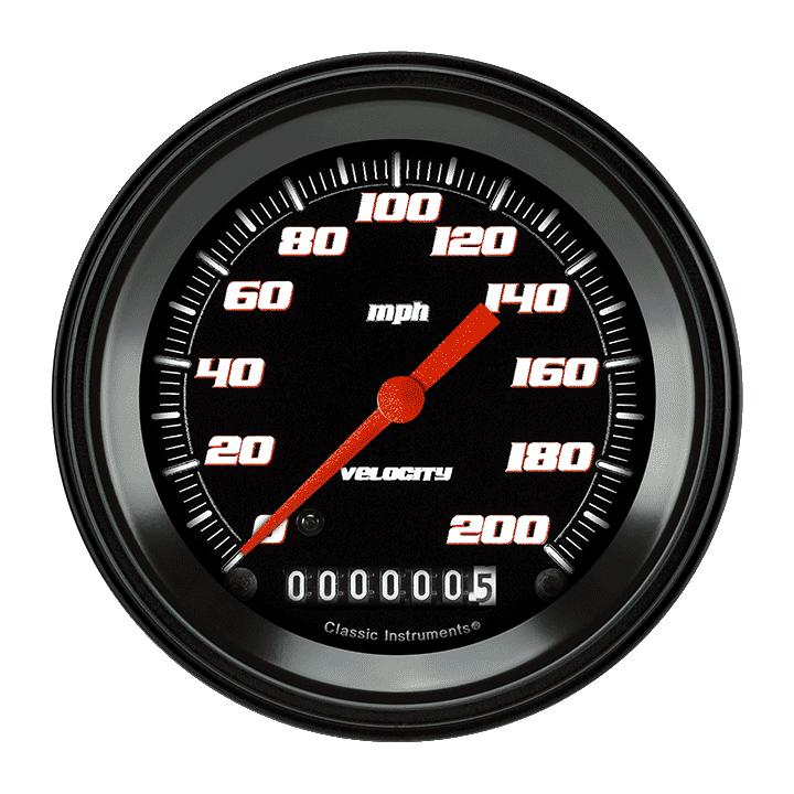 """Picture of Velocity Black 3 3/8"""" Speedometer"""