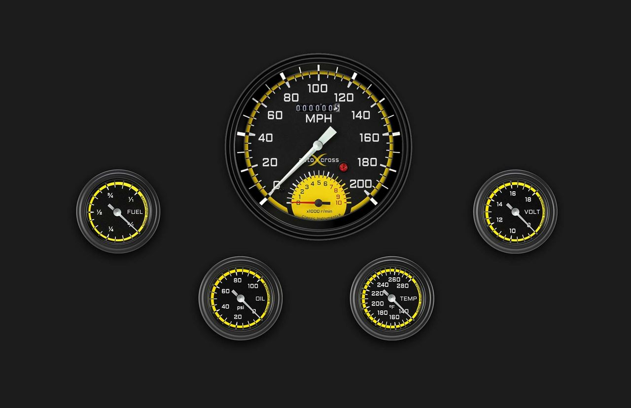 Picture of AutoCross Yellow Five Gauge Set 165