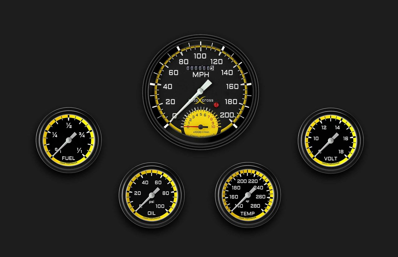 Picture of AutoCross Yellow Five Gauge Set 365